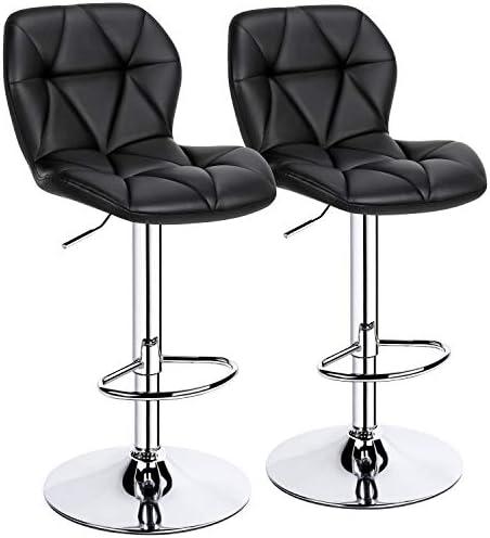 YAHEETECH Height Adjustable Swivel Bar Stools Modern PU Leather Counter Stool bar Chair