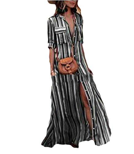 Del Long Up Nero Manicotto Roll Strisce Jaycargogo Womens Vestito Del Maxi Collare Tqwqx8S7
