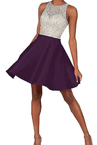 Festlichkleider La Traube Satin mia Braut Abendkleider Steine Tanzenkleider Promkleider Cocktailkleider Kurz Blau Pailletten HvHxC4