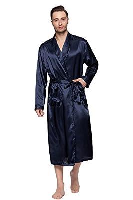Lavenderi Mens Silky Satin Lounge Robe, Long Lightweight Sleepwear