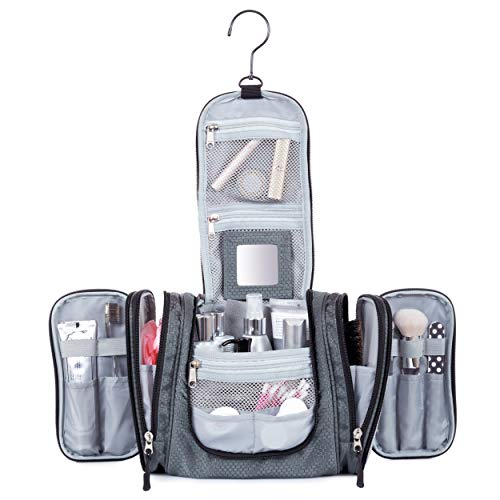 - Hanging Toiletry Travel Bag by Borsali - Makeup and Toiletries Organizer for Women - Storage for Large or Small Accessories - Mini MIrror, Easy Access Pockets - Plus FREE Gift