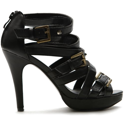f97fd33562946 Ollio Women s Pump Shoe Platform Gladiator Ankle Strap High Heel Multi  Color Sandal(6 B(M) US