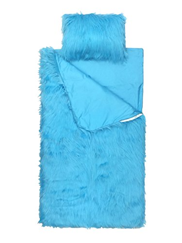 Limited Too Teal Fuzzy 2-Piece Slumber Bag and Mini Pillow Set