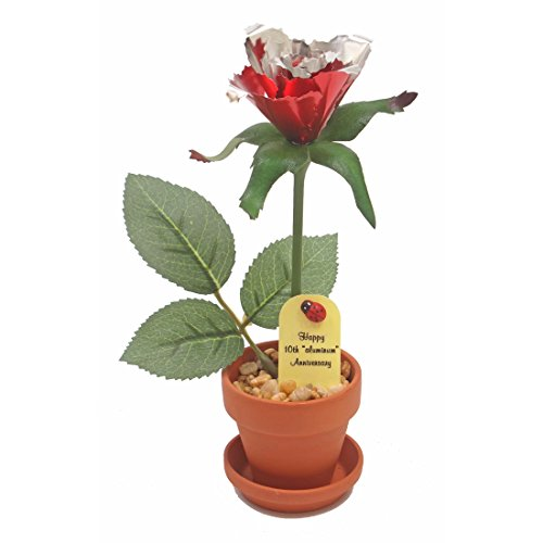 10th Wedding Anniversary Gift Potted Aluminum Rose (10th Anniversary Figurine)