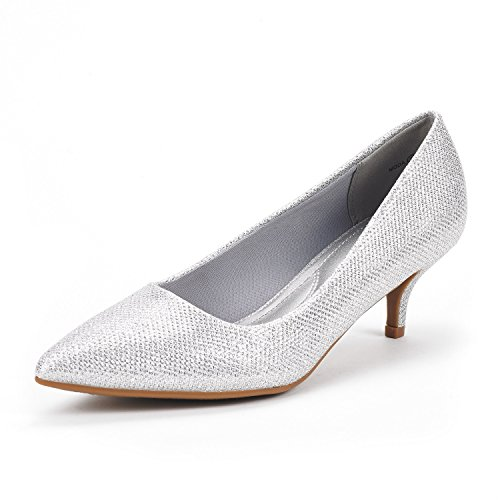 DREAM PAIRS Women's Moda Silver Glitter Low Heel D'Orsay Pointed Toe Pump Shoes Size 10 M (Bridal Dress Shoes)