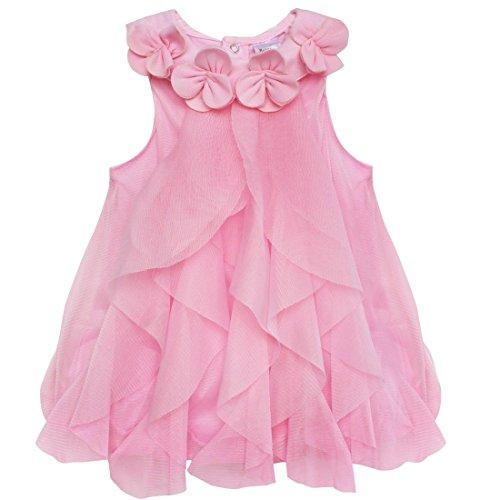 iiniim Baby Girls Princess One-Piece Ruffle Romper Jumpsuit Party Birthday Wedding Flower Girl Dress Pink 18-24 Months]()