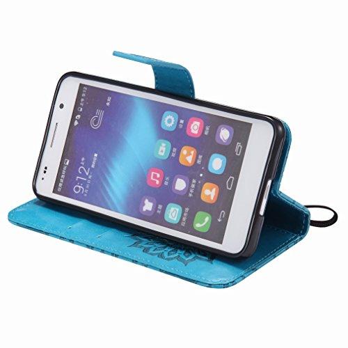 Yiizy Huawei Honor 6 Custodia Cover, Sole Petali Design Sottile Flip Portafoglio PU Pelle Cuoio Copertura Shell Case Slot Schede Cavalletto Stile Libro Bumper Protettivo Borsa (Blu)