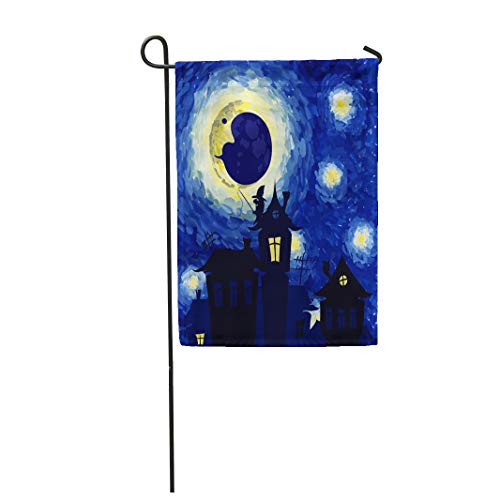 (Semtomn Garden Flag 28x40 Inches Print On Two Side Polyester Watercolor Star Starry Night in The Style of Van Gogh Halloween Antenna Black Home Yard Farm Fade Resistant Outdoor House)