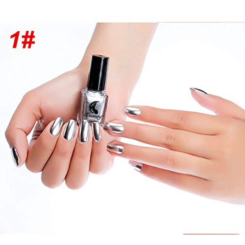 Gel Nail Polish Kekailu, 6ml Metallic Chrome Mirror Effect Manicure Tool?Nail Art Polish Varnish Sticker - #1 Mirror Silver ()