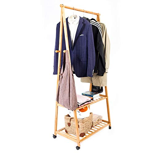Teekland Bamboo Clothes Rack Portable Extra Large Garment Rack 2-Tire Portable Practical Storage Clothes Hanger with Wheel Wood Color by Teekland (Image #9)