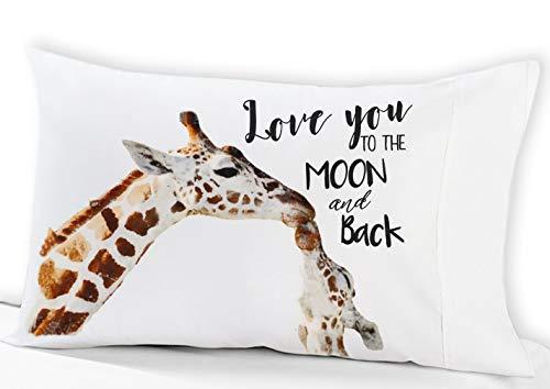 (Personalized Big Giraffe Little Giraffe Love You to the Moon and Back Pillowcase (Standard))