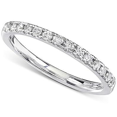 Amazon Com Round Diamond Wedding Band 1 3 Carat Ctw In 14k White