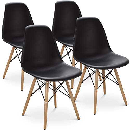 AK Energy Set of 4 Black Mid Century Modern DSW Dining Side Chair Guest Conference Chair Wood Leg