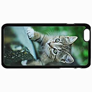 Customized Cellphone Case Back Cover For iPhone 6 Plus, Protective Hardshell Case Personalized Cat Small Kitten Black