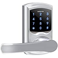 Signstek Touchscreen Lever Electronic Keypad Door Locker with Hidden Mechanical Keys(Silver)