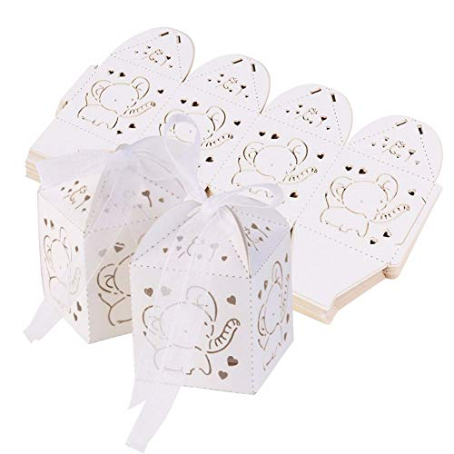 Gift Candy Boxes Baby Shower Favor Boxes Paper Candy Bag Box Hollow Out Elephant Pattern Candy Boxes Gift Bags Baby Shower Favors Ribbons Pack of 50 (White) ()