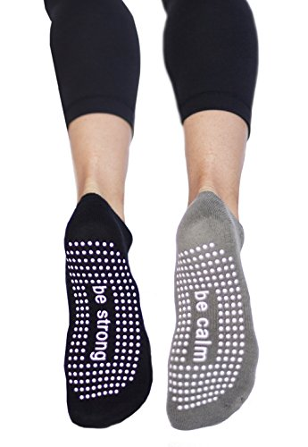 Sticky Be Grip Socks 2 Pack, Be Strong (Black/White) Be Calm (Heather Grey/White)