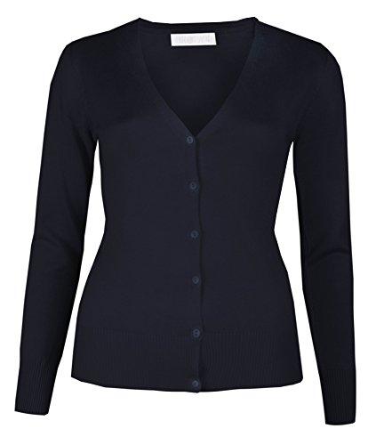 da da da fine amp; amp; amp; Navy a Donna cardigan tinta maglione da Brody Co pulsante scollo Winter con cardi unita a maglia donna cardigan V O51q1