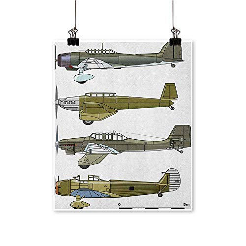 Airplane,Dining Room Wall Decor Thirties Style Dive in Camouflage Colors Historical Airshow Planes Design W24 xL32 Wall Decor for Chirldren Bedroom