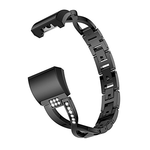 Christmas Hot Sale!!Kacowpper Replacement Small Metal Crystal Watch Band Wrist Strap for Fitbit Charge 2