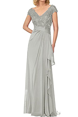Gray Silver Mother Bride Ruffles Evening Bridesmaid Long of BOwith The Gown Dresses Women's FO7AwqC