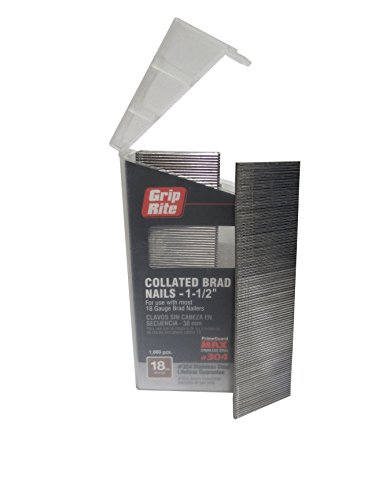 (Grip Rite Prime Guard MAXB64877 18-Gauge 304-Stainless Steel Brad Nails in Belt-Clip Box (Pack of 1000), 1-1/2