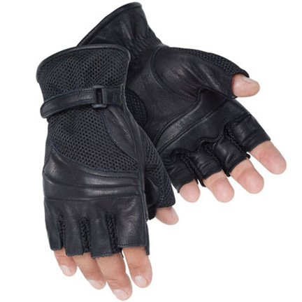 Tourmaster Mens Gel Cruiser II Fingerless Black Leather Gloves - Small