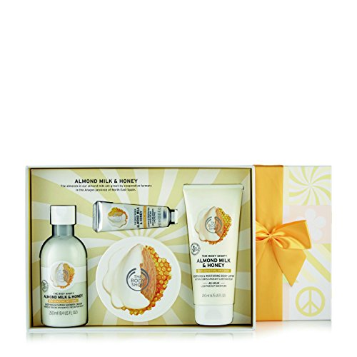 Comforting Butter Body Wash - The Body Shop Almond Milk and Honey Premium Collection Gift Set, 4pc Paraben-Free Bath and Body Gift Set