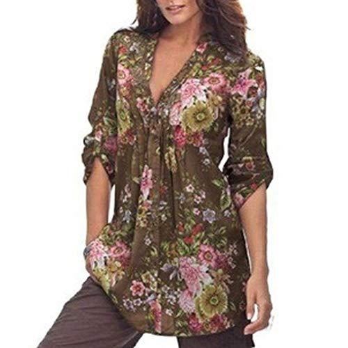 Bouffant Motif Vintage Manches Printemps Chemisier Automne Tunique Grande Femme Dcontract Cou Fleur Haut Shirt Style Spcial Blouse Elgante Braun Longues Trendy V Taille qpnWwtP5