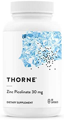 Thorne Research - Zinc Picolinate 30 mg (Formerly Double Strength Zinc Picolinate) - Well-Absorbed Zinc Supplement for Growth and Immune Function - NSF Certified for Sport - 60 Capsules