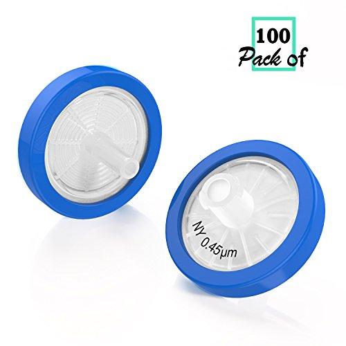 Nylon Syringe Filter - Syringe Filters Nylon 25mm Diameter 0.45um Pore Size non Sterile Pack of 100 by Biomed Scientific