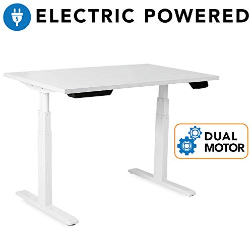 Mount-It! Electric Standing Desk Frame - Motorized Sit Stand Desk Base with Programmable, Memory and Timer Function LED Touch Control - Dual Motor Height Adjustable Workstation - Steel Base, White