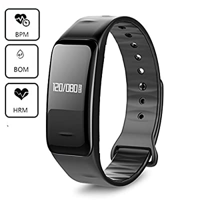 Blood Pressure Bracelet Oxygen Fitness Tracker,IP67 Waterproof Smart Watch Heart Rate monitor Sleeping Management Pedometer,OLED Touch Screen for Android iOS