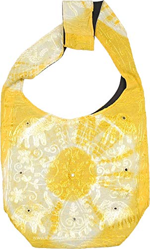 - TLB - Lively Lemon Yellow Tie Dye Shoulder Bag with Embroidery and Mirror Work - D:12