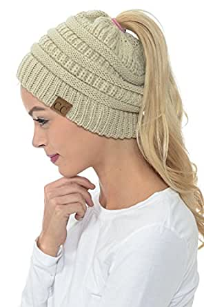 b01fa53638204f YourStyle CC Beanie Tail Soft Stretch Cable Knit High Bun Ponytail Beanie  (Beige)