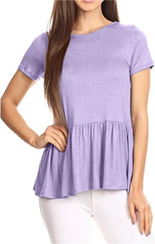 Ruffle Neck T-shirt - GOCHIC Women's Crew Neck Short Sleeve Ruffle Hem Peplum Tops Shirts Light Purple XX-Large