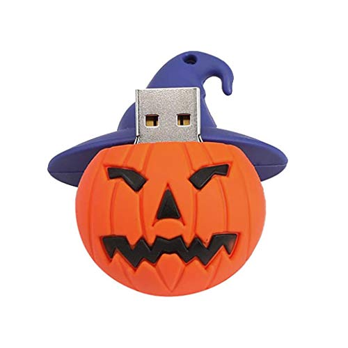32GB Data Storage Digital U Disk - Pausseo Halloween Pumpkin Head Rubber Cartoon Portable Big Capacity USB 2.0 Flash Drive Memory Stick Storage Pen Smart Phone Mobile Mini Ghost Backpack Buckle