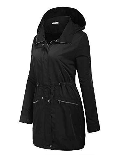 Manga Lluvia Abrigo Capucha Mujer Chaqueta Angvns Impermeable Plegable Larga De TwYvIqt