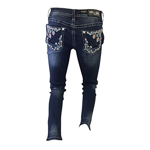 Hot Flash Apparel Women's Grace In LA Jeans Blue Denim colorful Stitching With Floral Design Skinny Leg JNW81133-30