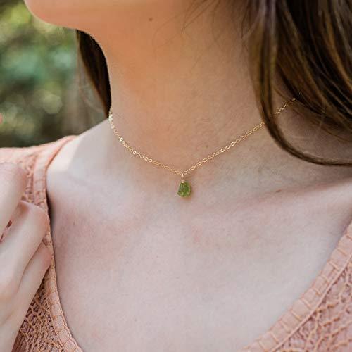 - Tiny raw peridot gemstone pendant choker necklace in 14k gold fill - 12