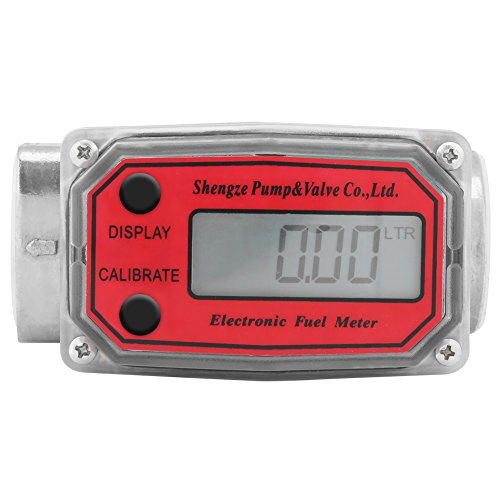 Fuel Flowmeter, Turbine Flowmeter, Diesel, Gasoline, Kerosene Fuel Flow Meter with Digital LCD Display, 1-Inch FNPT Inlet/Outlet(Red)