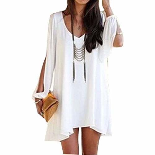 Women's Long Batwing Sleeve Mini V-Neck Irregular Hem Casual Loose Chiffon Dress