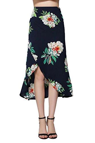 HARDKING Fashion Classic Floral Print High Waist Long Skirts Tie Waist Criss Wrap Irregular Hem Maxi Skirts(Navy,S)