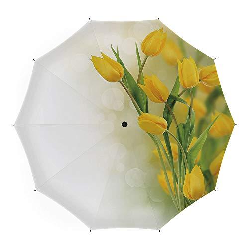 Folding Umbrella,Yellow Flower,for Women Men Vinyl Anti-UV Lightweight 45 Inch,Romantic Tulip Bouquet Famous Plant of Netherlands Botanical Theme Decorative