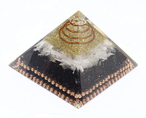 Orgone Pyramid Emf Protection Selenite Black tourmaline Crystal Orgonite Pyramid for Meditation Yoga Chakra Healing by Orgonite Crystal