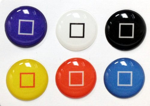 3D Semi-circular Colors Square Style Home Button Stickers for iPhone 5 4/4s 3GS 3G, iPad 2, iPad Mini, iTouch 6 pieces Blue, Black, White, Red, Yellow, Light Blue