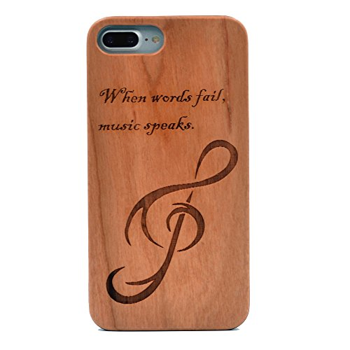 iPhone 7 Plus Wooden Case, Music Note When Words Fail Music Speaks Pattern Carving Real Wood Premium Protective Shockproof Slim Cover for iPhone 7 Plus,iPhone 8 Plus