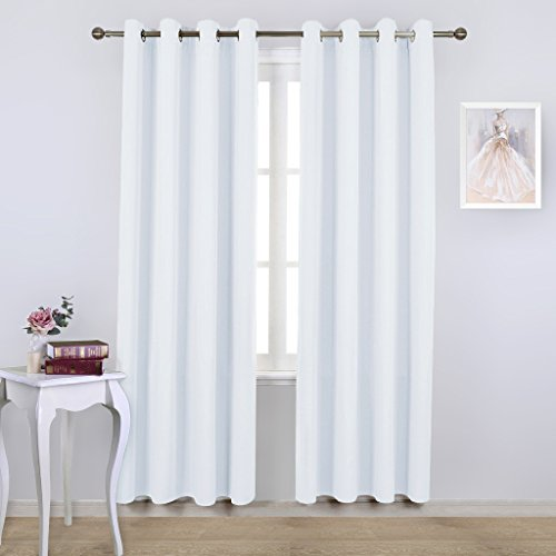 NICETOWN White Room Darkening Draperies and Curtains - Home Fashion Energy Saving Grommet Top Room Darkening Drape Panels for Bedroom (Set of 2 Panels, 52 by 84 Inch, Silver White)
