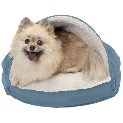 FurHaven Pet Dog Bed | Orthopedic Round Faux Sheepskin Snuggery Burrow Pet Bed for Dogs & Cats,...