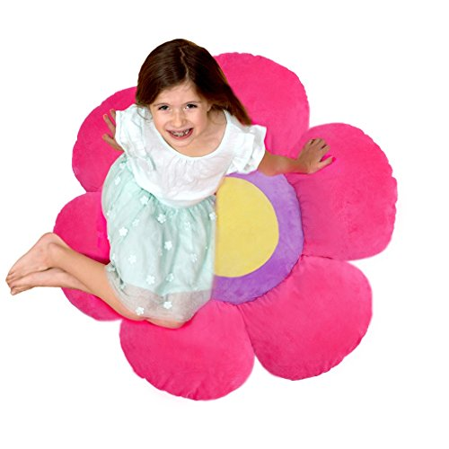 Flower Pillow to be Used as Floor Pillow or Decorative Pillow - Adorable Daisy Flower Shape and Color Pink - Large, Soft and Cozy Pillow for Floor Sitting, Playtents, Girls Bedroom Decor by Floor Bloom